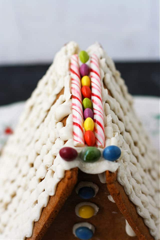 vegan gingerbread house with candy