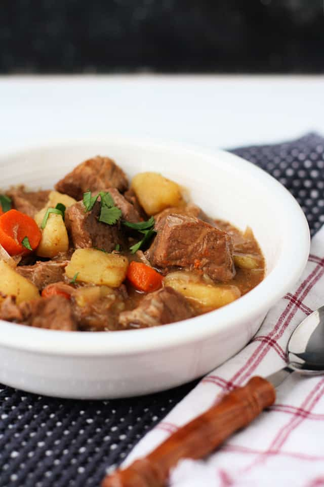 gluten free beef stew in a white bowl