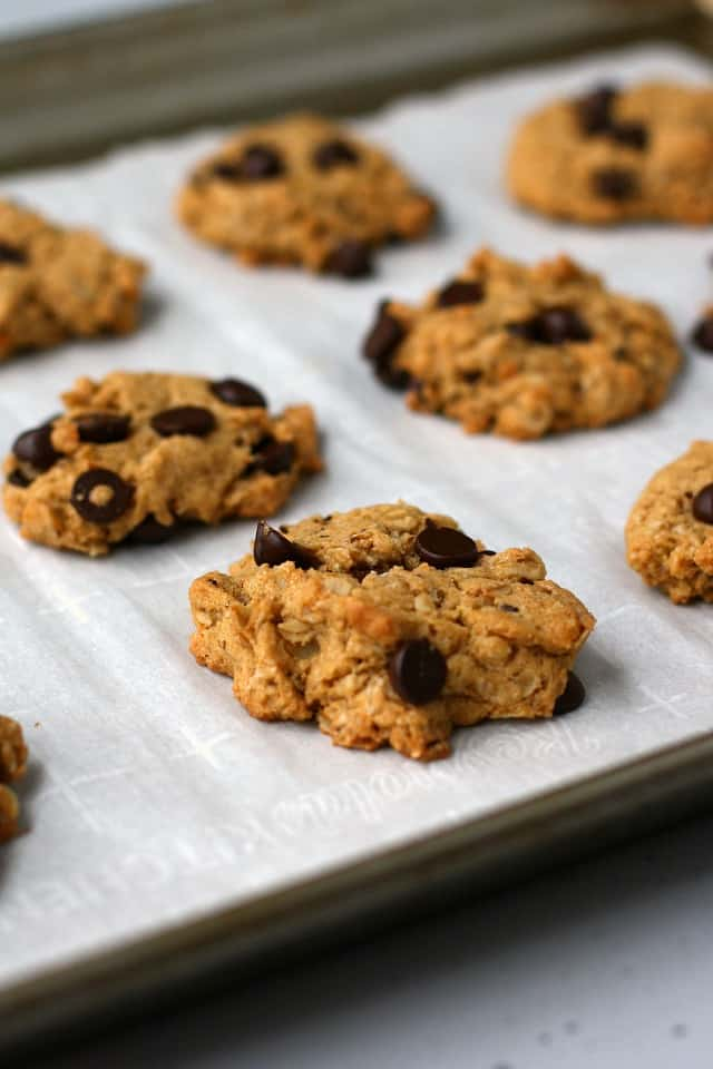 gluten free sweet potato oatmeal cookies on a cookie sheet