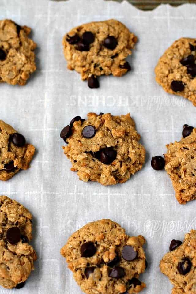 sweet potato oatmeal cookies on a cookie sheet