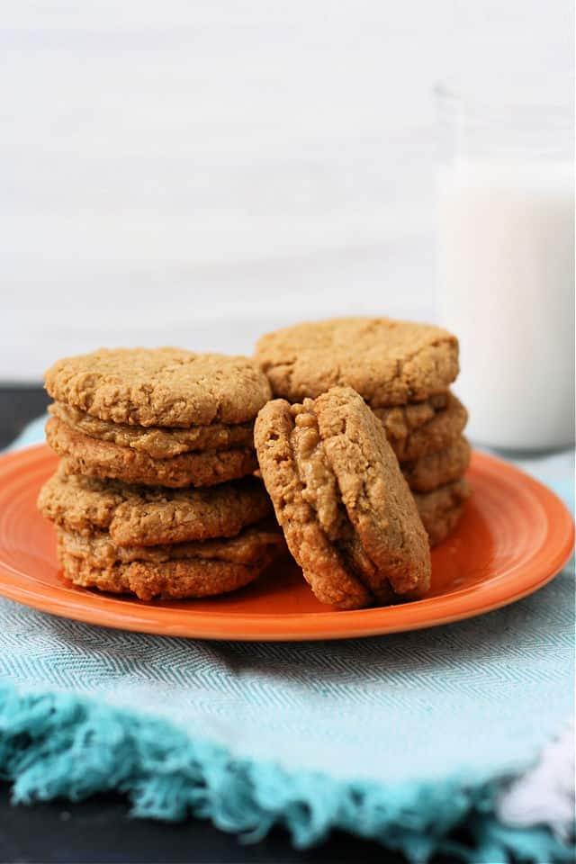 gluten free do si do cookies on orange plate