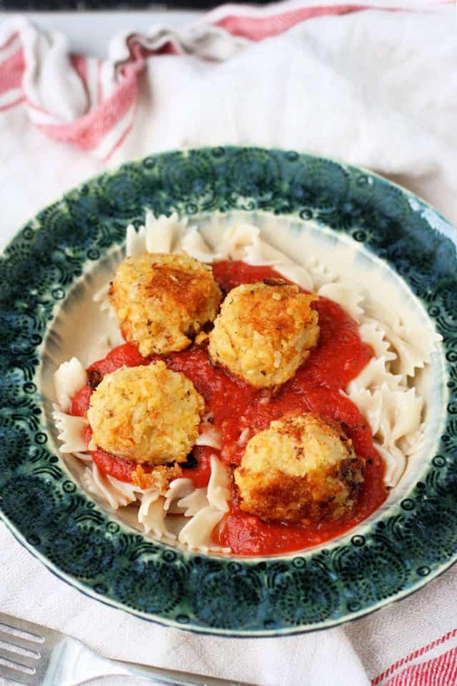 vegan meatballs with marinara and pasta