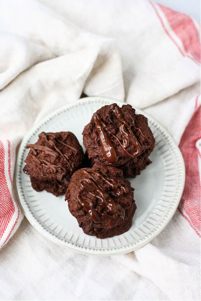 gluten free double chocolate cookies on a white plate