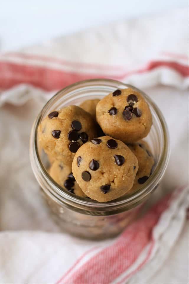 vegan cookie dough bites in jar