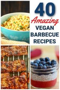 vegan ribs macaroni salad and a chia pudding with berries