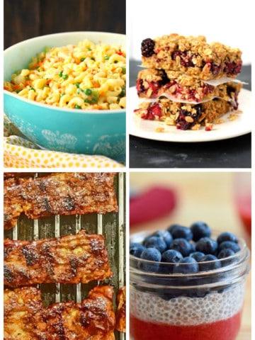 vegan macaroni salad crumble bars vegan ribs and chia parfait