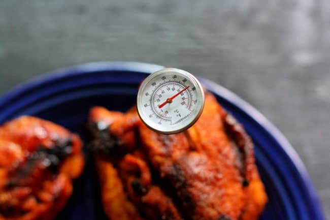 chicken with meat thermometer