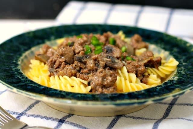 bowl of ground beef stroganoff