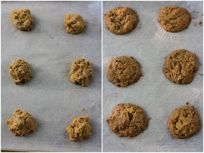 pumpkin oat cookies before and after baking