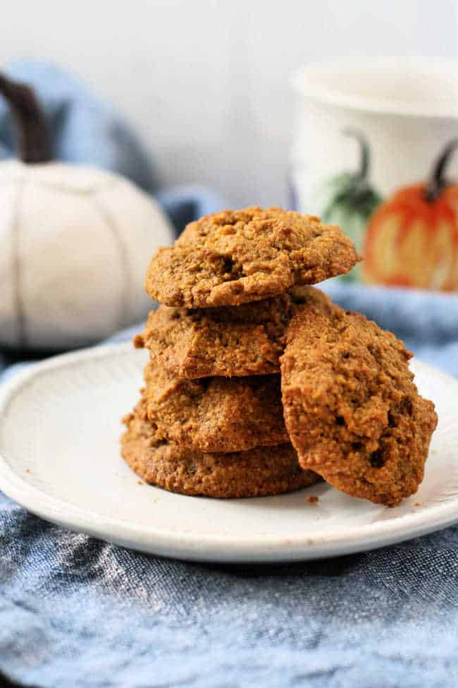 pumpkin spice cookies on a white plate
