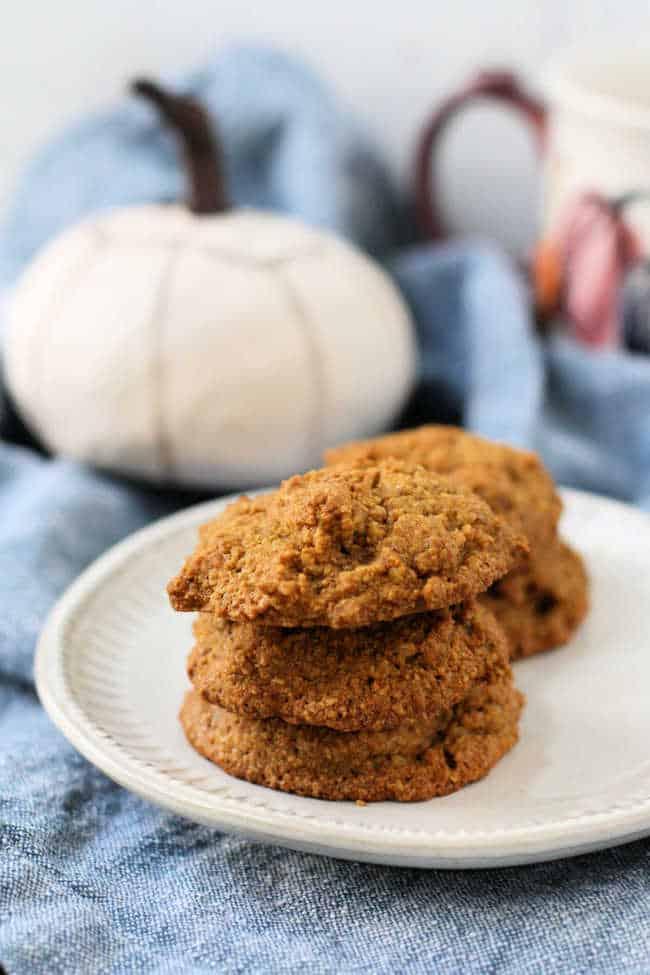 stack of gluten free vegan pumpkin cookies