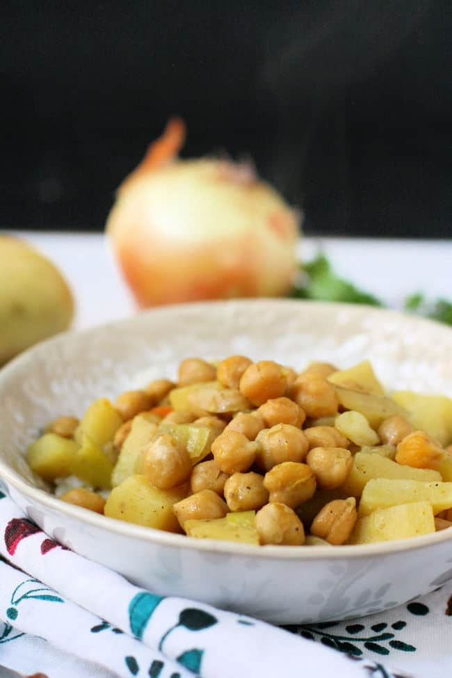 bowl of chickpea potato curry