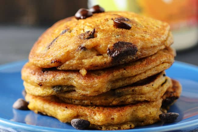 chocolate chip pancakes stacked on a plate