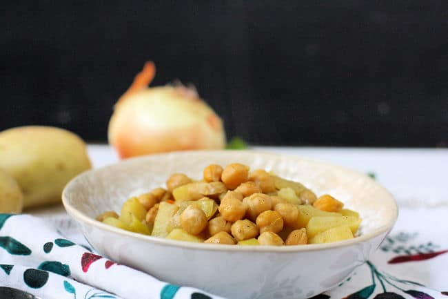 white bowl of chickpea curry