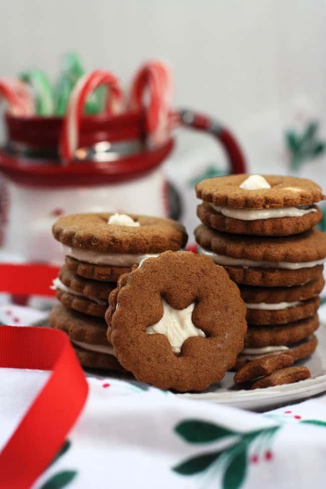 vegan gingerbread sandwich cookies on a plate