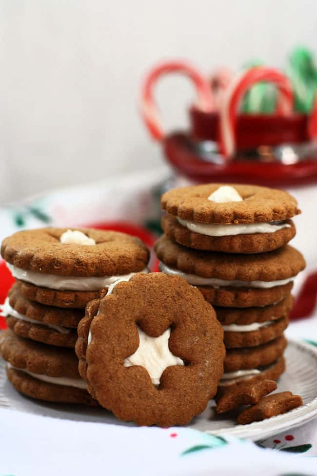 stack of gluten free vegan gingerbread cookies on a plate