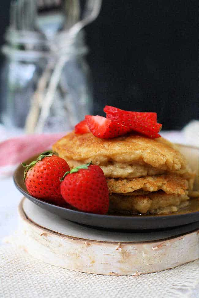 dairy free pancakes with strawberries on top