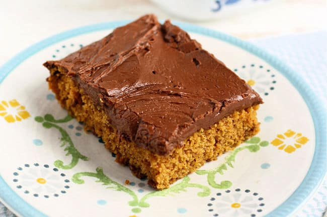 slice of chocolate frosted pumpkin cake