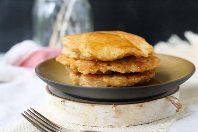 pancakes on a plate with maple syrup