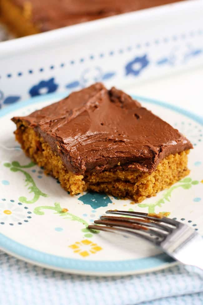 slice of pumpkin cake with a fork